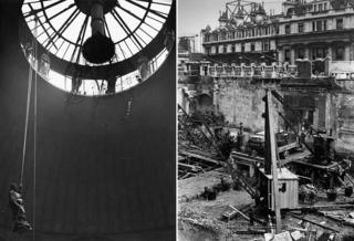 Bank of England rebuilding, 1920s/30s - Caryatid being lowered from Consols Office lantern/demolition of north east corner