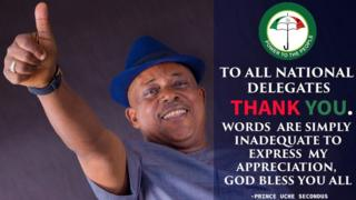 Uche Secondus poster dey thank party members after im win di PDP National convention