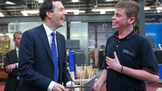 George Osborne meets apprentice Jordan Hankin