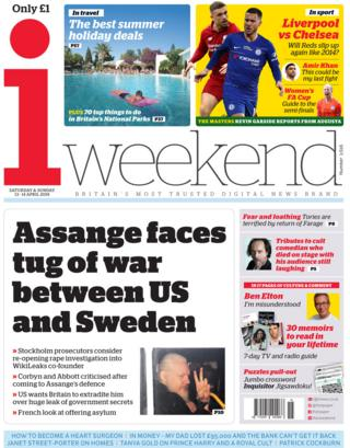 The i front page, 13/4/19