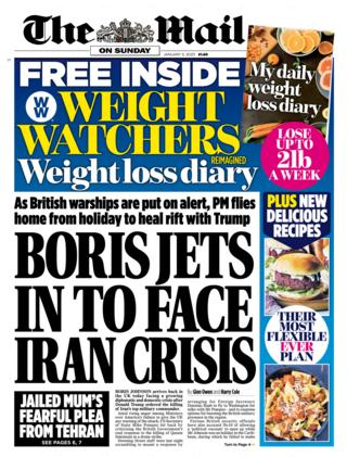 Mail on Sunday front page 5 January 2020
