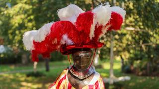Model in reproduced Schwarz headdress