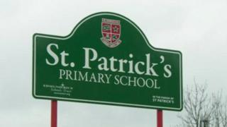The sign outside St Patrick's School on Pim Street, North Belfast.