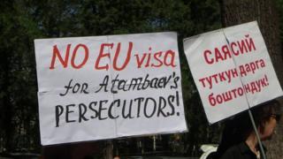 Бишкектеги Евробиримдиктин өкүлчүлүгү алдындагы акция