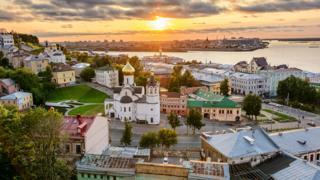 The stadium in Nizhny Novgorod sits just above the point where rivers Volga and Oka meet