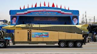 File photo showing an Emad long-range ballistic at a military parade in Iran (21 September 2016)