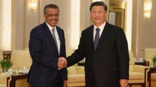 WHO director general Tedros Adhanom Ghebreyesus with Chinese President Xi Jinping