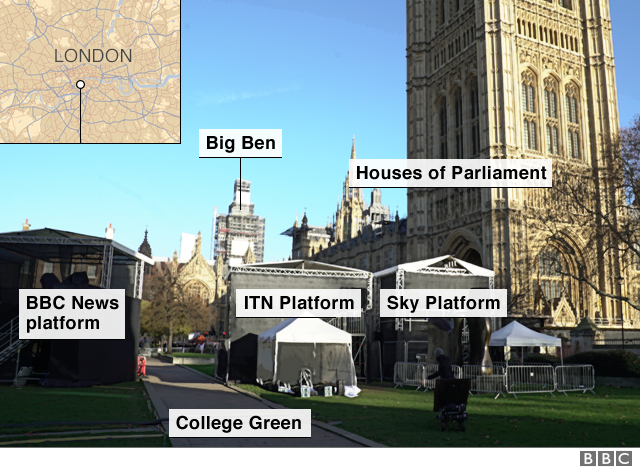 Image of College Green showing media positions