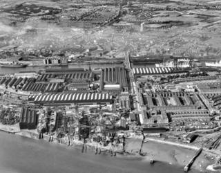Barrow in Furness shipyards in July 1949