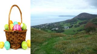 Easter eggs in a basket next to scene above Penmaenmawr