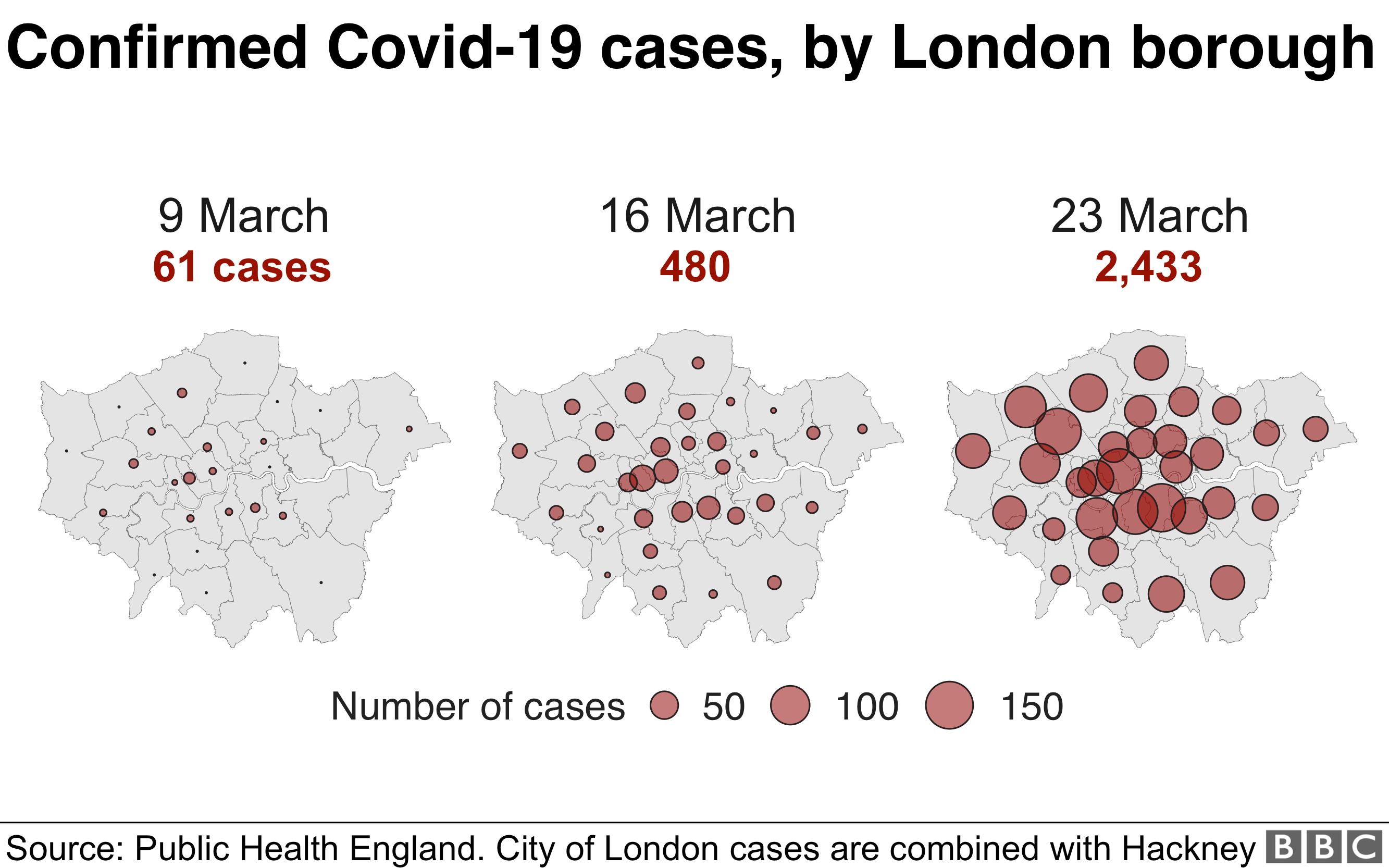Graphic showing covid-19 cases increasing in London boroughs