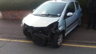 The Toyota Aygo with its front bumper missing