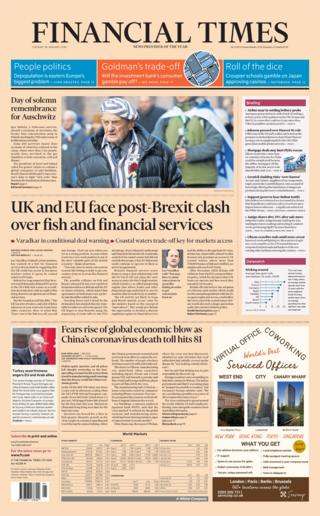 Tuesday's Financial Times front page