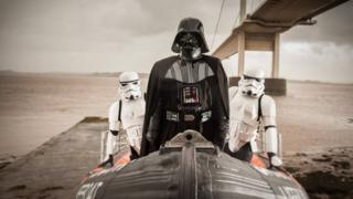Darth Vader and Stormtroopers on a boat