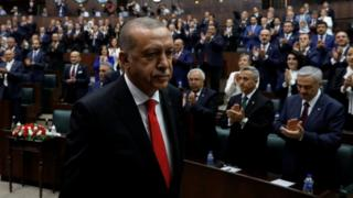 Recep Tayyip Erdogan addresses parliament, 7 July 2018