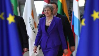 Britain's Prime Minister Theresa May arrives at the European Council in Brussels on October 18, 2018