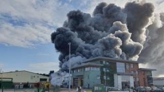 Wrexham fire: Blaze breaks out at Village Bakery building