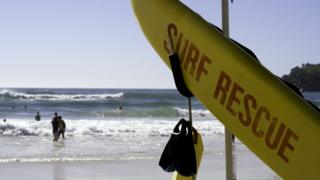 A generic photo of a surf rescue board at an Australian beach