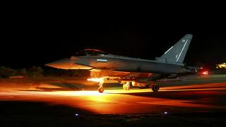 A RAF Typhoon leaving for a mission from RAF Akrotiri in Cyprus