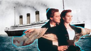 Leonardo Dicaprio and Kate Winslet in front of the Titanic