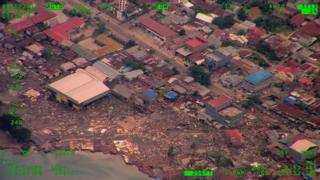 A residential area with some houses reduced to rubble in Palu city, central Sulawesi, Indonesia on 29 September 2018.