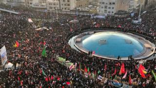 Crowds gather in Tehran for Soleimani's funeral
