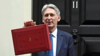 Philip Hammond carrying the red budget box outside of Number 11 Downing Street