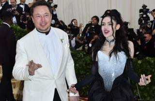 Elon Musk and Grimes arrive for the 2018 Met Gala on May 7, 2018