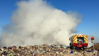 Landfill site fire at Trigon Quarry, near Wareham
