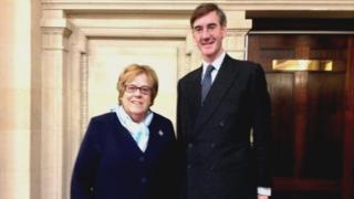 Jacob-Rees Mogg stands alongside his nanny Veronica Crook