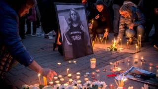 Vigil for Viktoria Marinova in the Bulgarian capital Sofia - 8 October