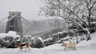 Snowy scene at Clifton suspension bridge, Bristol
