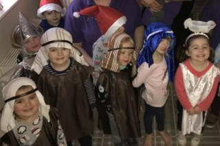 Children dressed up for a nativity