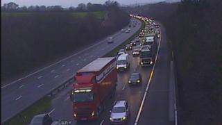 Traffic queuing at junction 34 Miskin on the M4