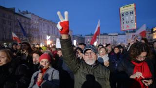 Protesters gather in Krakow
