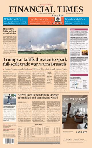 Financial Times front page - 02/07/18