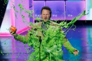 Actor Chris Pratt gets slimed