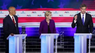 Candidatos demócratas para presidente de EEUU en el debate en Miami.