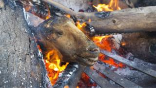 "A sheeps head known locally as a ""Smiley"" is prepared in a fire at a butchery in Masiphumelele, Cape Town, South Africa, 04 May 2017. Meat cooked on an open wood fire is known as braaing in South Africa and is very popular amongst township residents. This butcher shop has been running for the past five years. Slaughtered Cows and Sheep are sourced from a farm in Paarl some 120 kilometers A butcher displays cuts of meat for sale at a butchery in Masiphumelele, Cape Town, South Africa, 04 May 2017. Meat cooked on an open wood fire is known as braaing in South Africa and is very popular amongst township residents. This butcher shop has been running for the past five years."