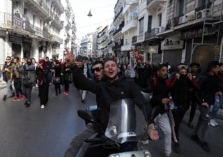 Algerian students protest against the fifth term of Abdelaziz Bouteflika in Algiers