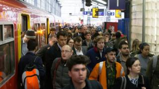 Rail passengers at Waterloo
