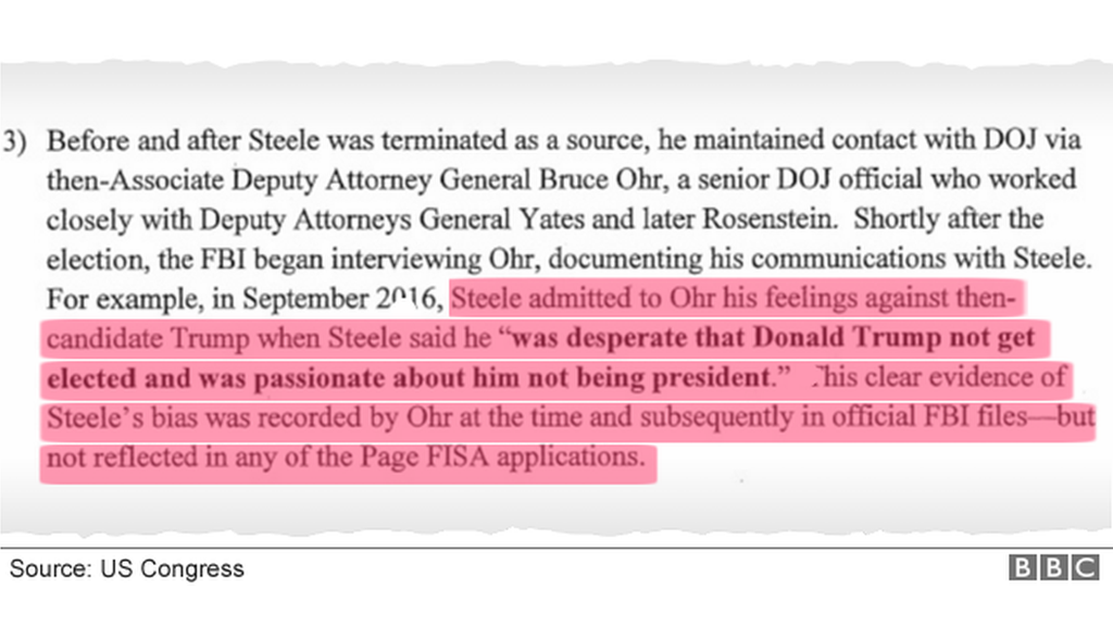 "memo extract with highlighted text: ""Steele... was desperate that Donald Trump not get elected"""