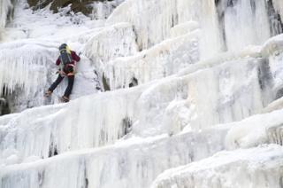 Climber at Kinder Downfall