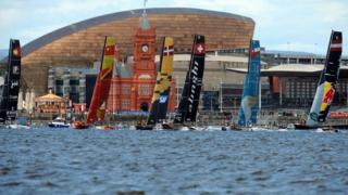 Extreme sailing racing in Cardiff Bay