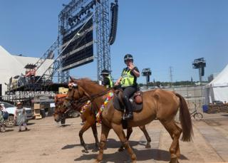 Police horses at Glastonbury