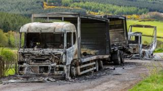 Burned out HGVs