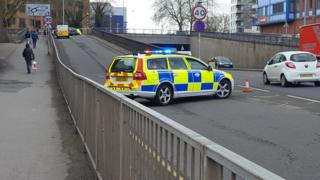 Police activity in the centre of Reading
