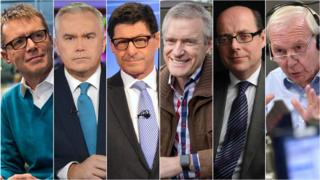 Left-right: Nicky Campbell, Huw Edwards, Jon Sopel, Jeremy Vine, Nick Robinson and John Humphrys