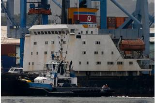 A tugboat is seen next to North Korean container ship Chong Chon Gang at the Manzanillo International Container Terminal in Colon City, Panama in July 2013
