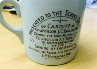 Schoolchildren across Cardiff were given cups like this in 1918. Presented by Councillor J.C.Gould MP in commemoration of the signing of the Armistice on 11th November 1918.